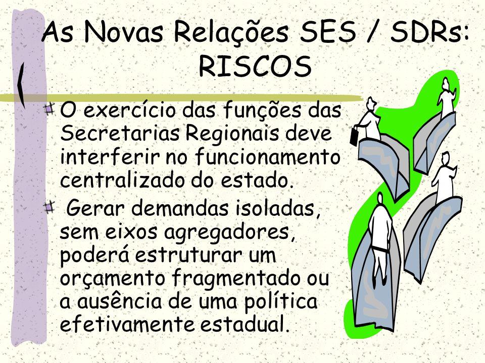 As Novas Relações SES / SDRs: RISCOS O exercício das funções das Secretarias Regionais deve interferir no funcionamento centralizado do estado. Gerar