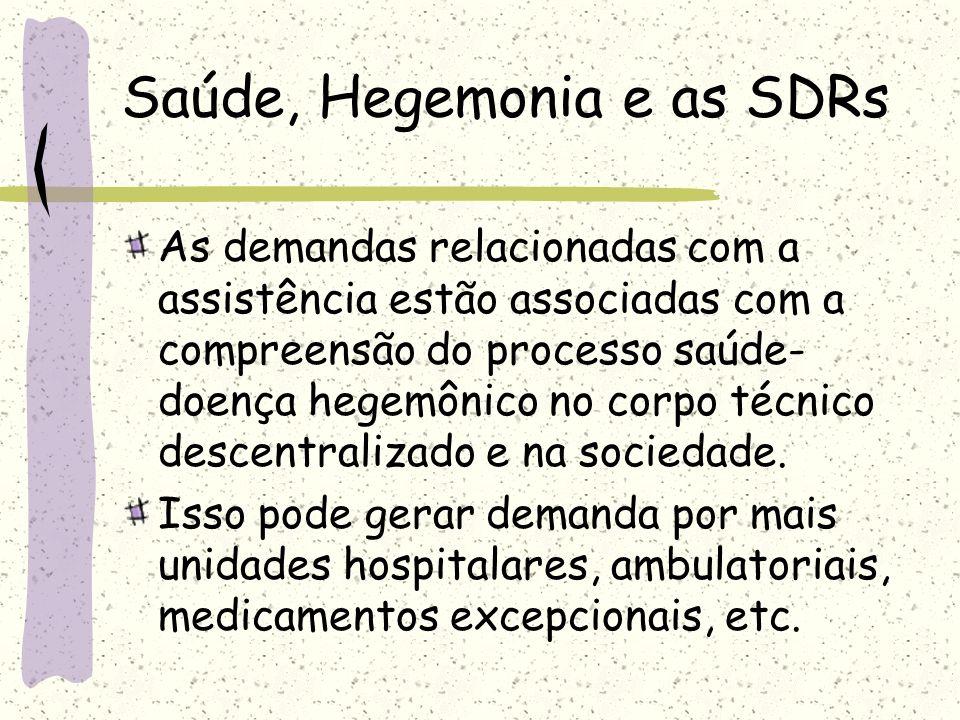 As demandas relacionadas com a assistência estão associadas com a compreensão do processo saúde- doença hegemônico no corpo técnico descentralizado e