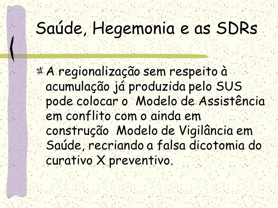 Saúde, Hegemonia e as SDRs A regionalização sem respeito à acumulação já produzida pelo SUS pode colocar o Modelo de Assistência em conflito com o ain