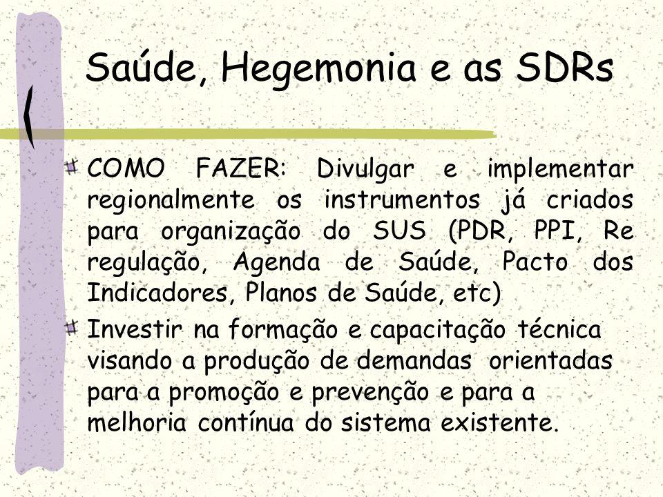 Saúde, Hegemonia e as SDRs COMO FAZER: Divulgar e implementar regionalmente os instrumentos já criados para organização do SUS (PDR, PPI, Re regulação