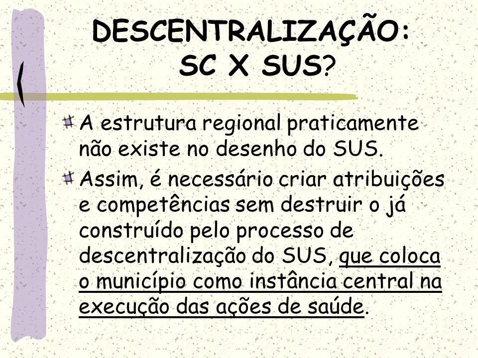 DESCENTRALIZAÇÃO: SC X SUS? A estrutura regional praticamente não existe no desenho do SUS. Assim, é necessário criar atribuições e competências sem d
