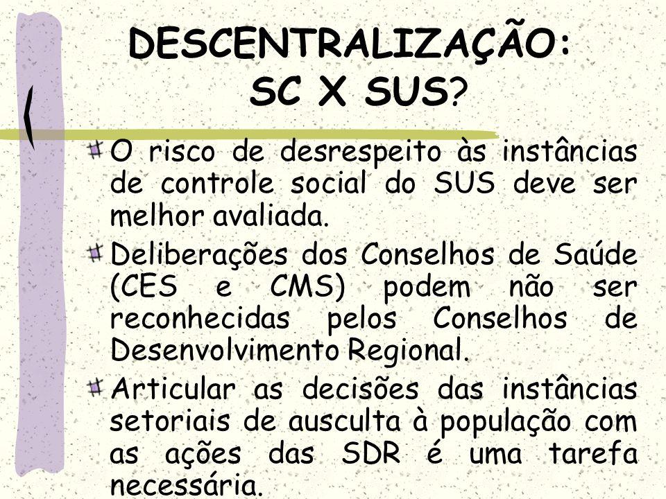 DESCENTRALIZAÇÃO: SC X SUS? O risco de desrespeito às instâncias de controle social do SUS deve ser melhor avaliada. Deliberações dos Conselhos de Saú