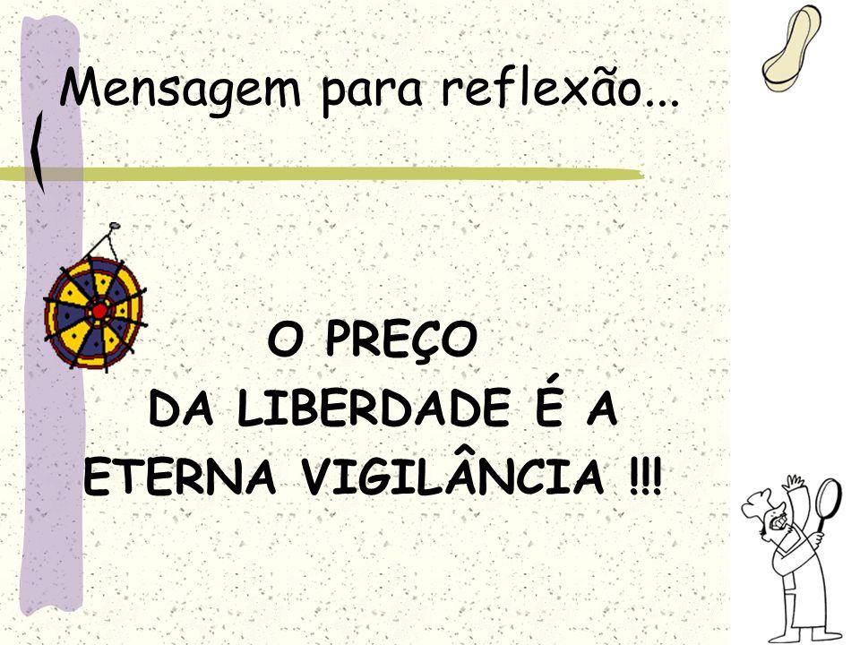 Mensagem para reflexão... O PREÇO DA LIBERDADE É A ETERNA VIGILÂNCIA !!!