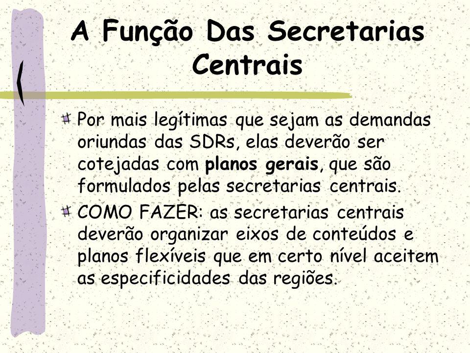 A Função Das Secretarias Centrais Por mais legítimas que sejam as demandas oriundas das SDRs, elas deverão ser cotejadas com planos gerais, que são fo