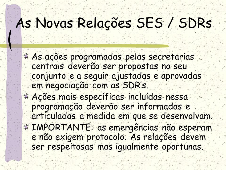 As Novas Relações SES / SDRs As ações programadas pelas secretarias centrais deverão ser propostas no seu conjunto e a seguir ajustadas e aprovadas em