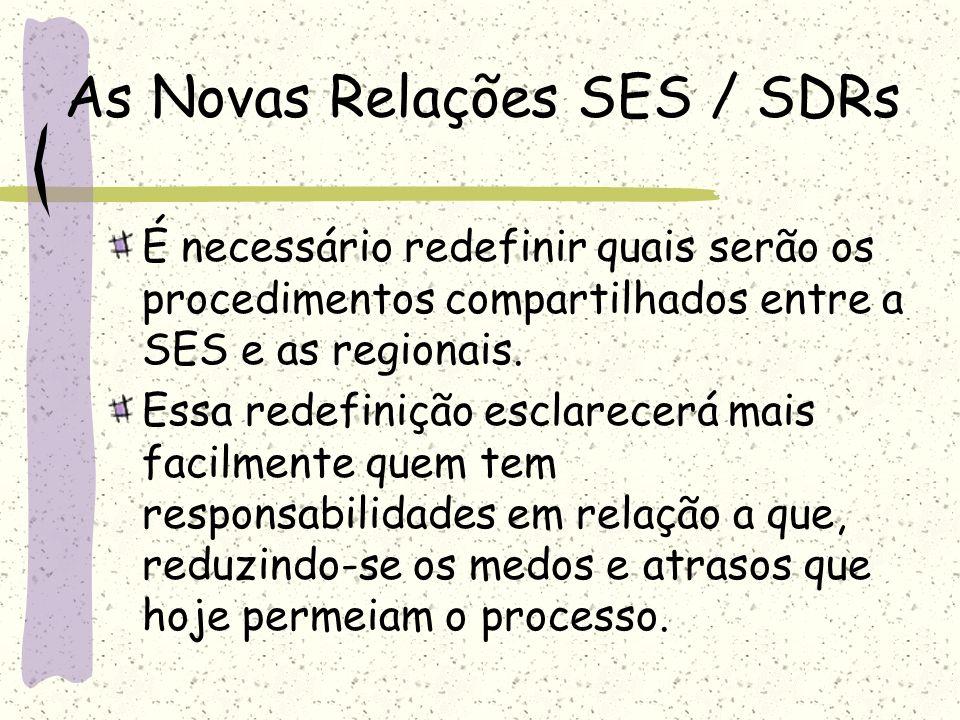 As Novas Relações SES / SDRs As competências compartilhadas entre a SES e as SDRs, agora autônomas, exigem novos instrumentos que orientem o trabalho do corpo técnico das gerências de saúde subordinadas às SDR.