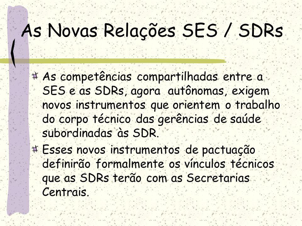 As Novas Relações SES / SDRs As competências compartilhadas entre a SES e as SDRs, agora autônomas, exigem novos instrumentos que orientem o trabalho