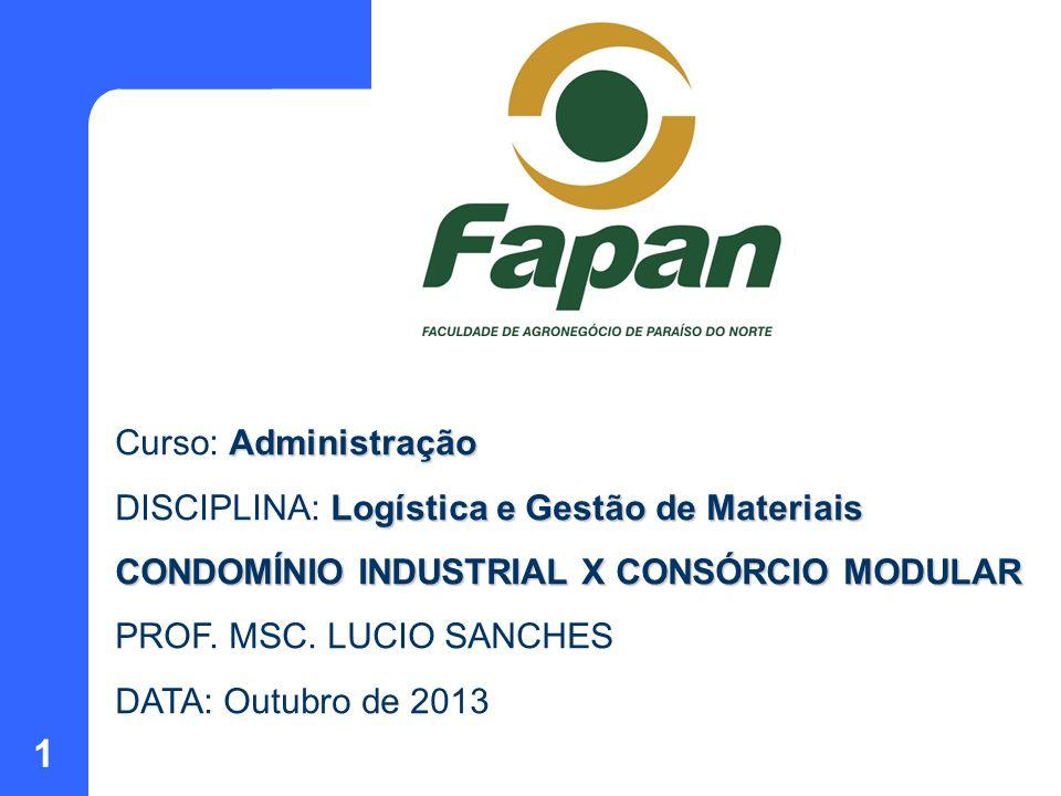 1 Administração Curso: Administração Logística e Gestão de Materiais DISCIPLINA: Logística e Gestão de Materiais CONDOMÍNIO INDUSTRIAL X CONSÓRCIO MOD