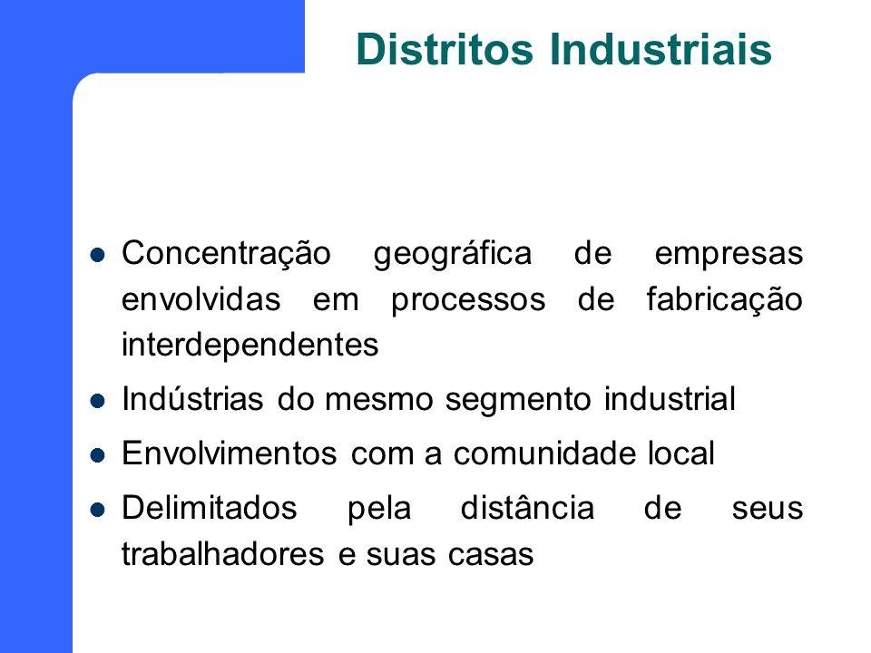 Distritos Industriais Concentração geográfica de empresas envolvidas em processos de fabricação interdependentes Indústrias do mesmo segmento industri