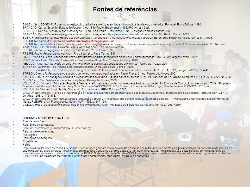 Fontes de referências BIKLEN, Sari; BOGDAN, Roberto. Investigação qualitativa em educação. Uma introdução à teoria e aos métodos. Portugal: Porto Edit