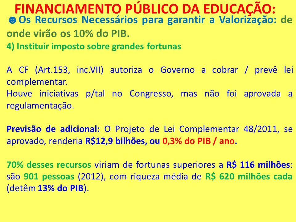 FINANCIAMENTO PÚBLICO DA EDUCAÇÃO: Os Recursos Necessários para garantir a Valorização: de onde virão os 10% do PIB. 4) Instituir imposto sobre grande