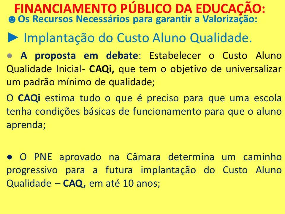 FINANCIAMENTO PÚBLICO DA EDUCAÇÃO: Os Recursos Necessários para garantir a Valorização: Implantação do Custo Aluno Qualidade. A proposta em debate: Es