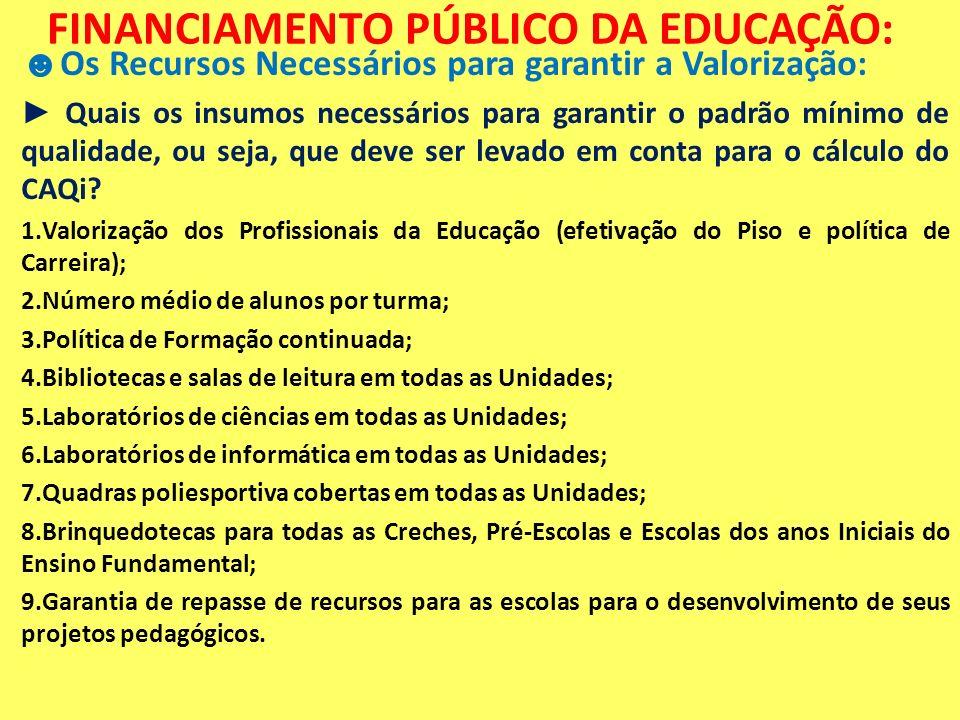 FINANCIAMENTO PÚBLICO DA EDUCAÇÃO: Os Recursos Necessários para garantir a Valorização: Quais os insumos necessários para garantir o padrão mínimo de