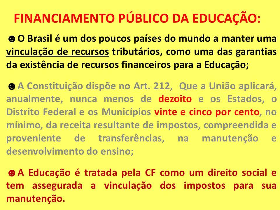 FINANCIAMENTO PÚBLICO DA EDUCAÇÃO: O Brasil é um dos poucos países do mundo a manter uma vinculação de recursos tributários, como uma das garantias da