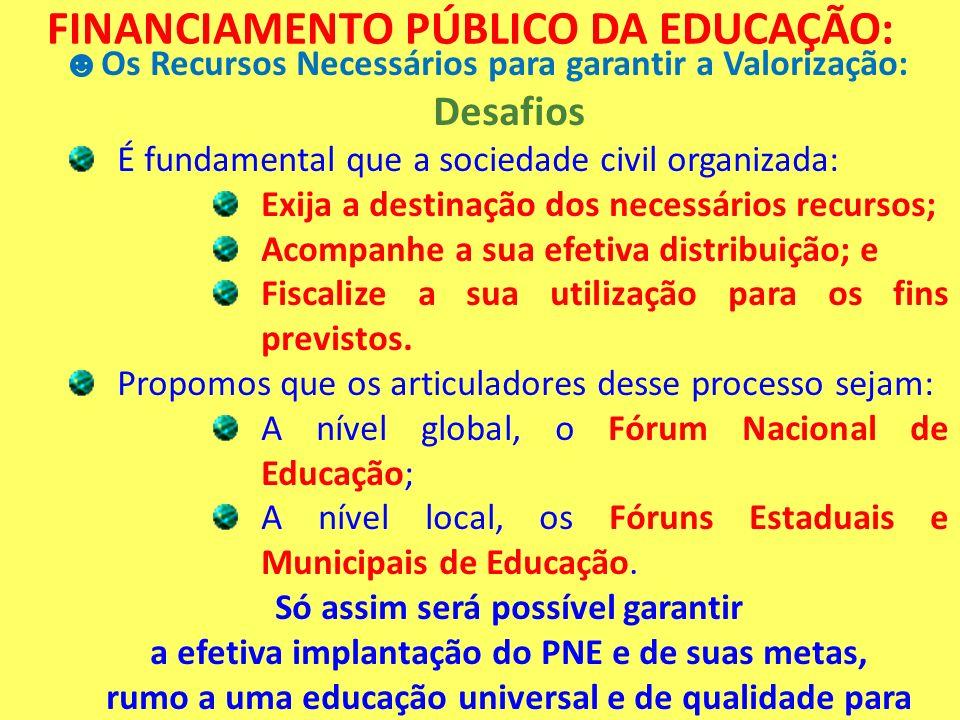 FINANCIAMENTO PÚBLICO DA EDUCAÇÃO: Os Recursos Necessários para garantir a Valorização: Desafios É fundamental que a sociedade civil organizada: Exija