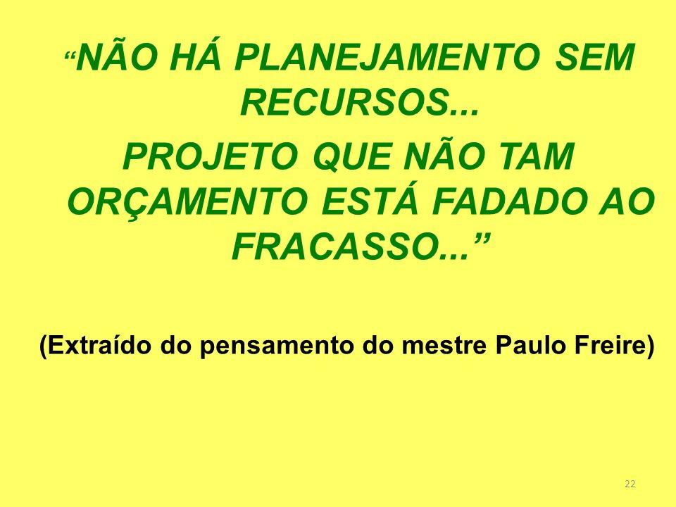 22 NÃO HÁ PLANEJAMENTO SEM RECURSOS... PROJETO QUE NÃO TAM ORÇAMENTO ESTÁ FADADO AO FRACASSO... (Extraído do pensamento do mestre Paulo Freire)
