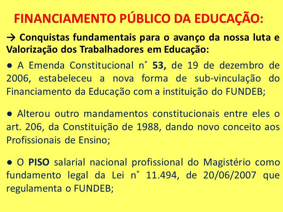 FINANCIAMENTO PÚBLICO DA EDUCAÇÃO: Conquistas fundamentais para o avanço da nossa luta e Valorização dos Trabalhadores em Educação: A Emenda Constituc