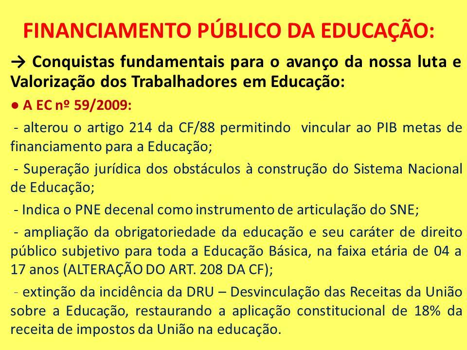 FINANCIAMENTO PÚBLICO DA EDUCAÇÃO: Conquistas fundamentais para o avanço da nossa luta e Valorização dos Trabalhadores em Educação: A EC nº 59/2009: -