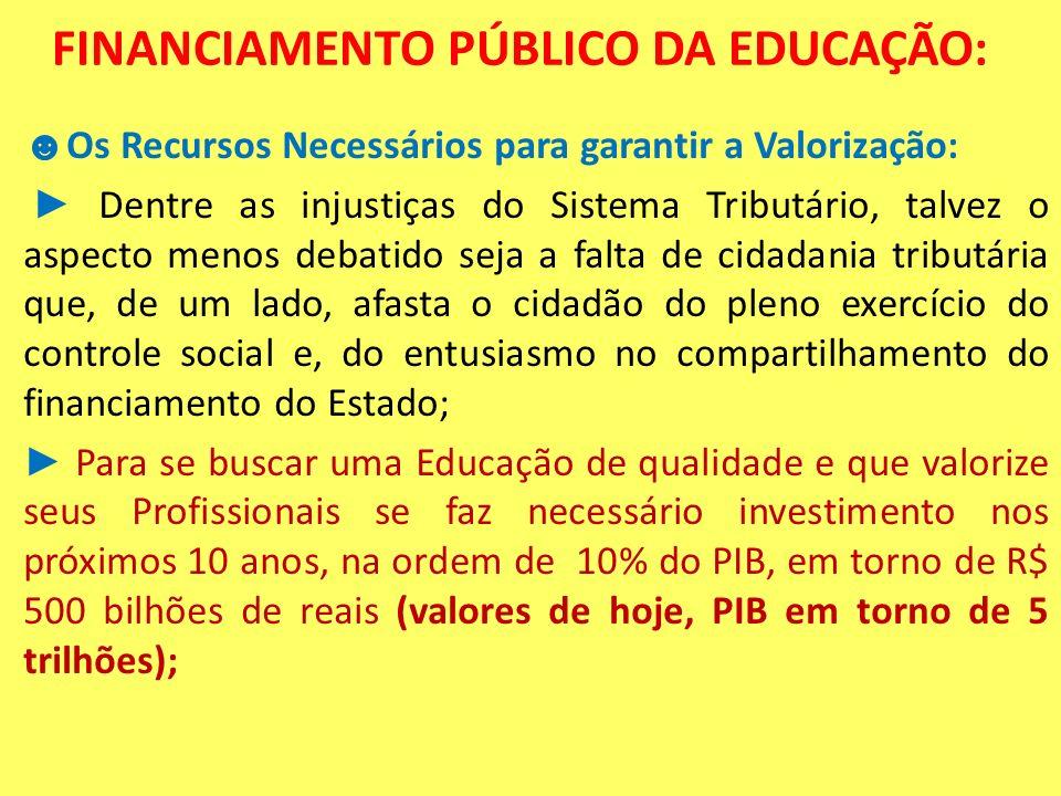 FINANCIAMENTO PÚBLICO DA EDUCAÇÃO: Os Recursos Necessários para garantir a Valorização: Dentre as injustiças do Sistema Tributário, talvez o aspecto m
