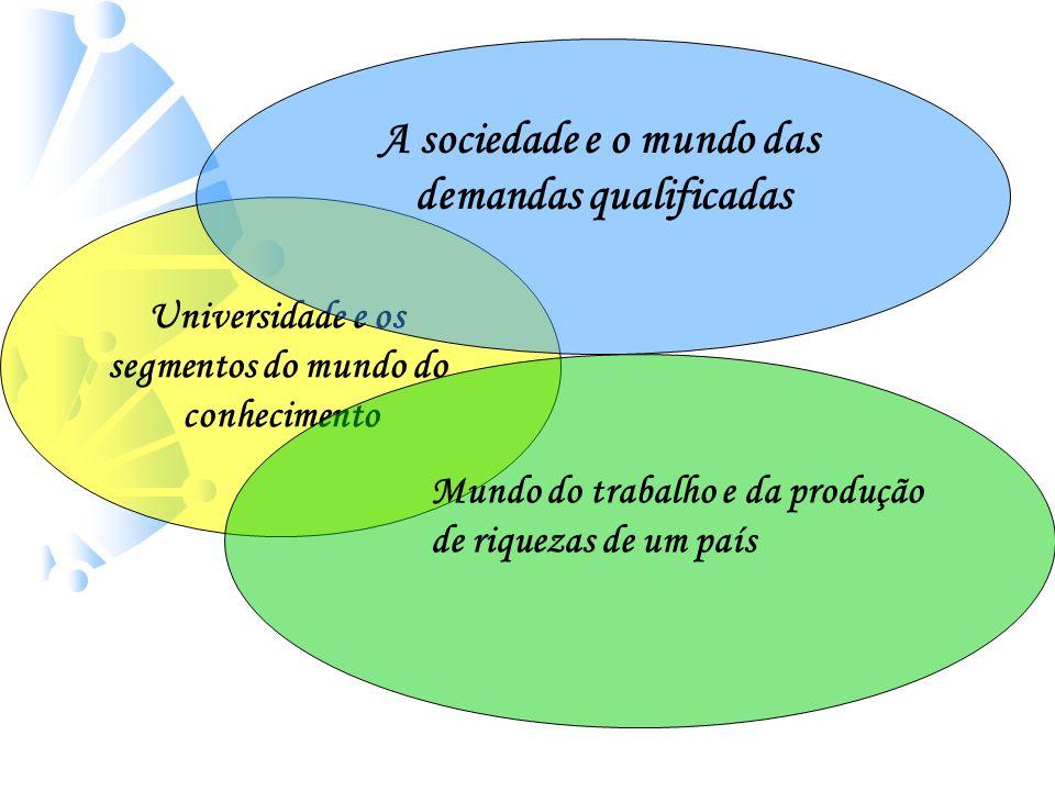 Universidade e os segmentos do mundo do conhecimento A sociedade e o mundo das demandas qualificadas Mundo do trabalho e da produção de riquezas de um país O que faz a diferença