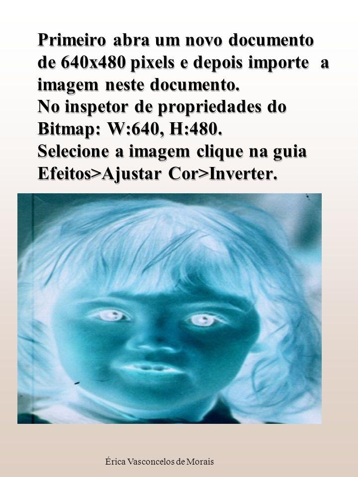 Érica Vasconcelos de Morais Primeiro abra um novo documento de 640x480 pixels e depois importe a imagem neste documento. No inspetor de propriedades d