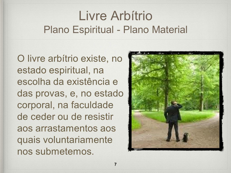 Livre Arbítrio Plano Espiritual - Plano Material O livre arbítrio existe, no estado espiritual, na escolha da existência e das provas, e, no estado co