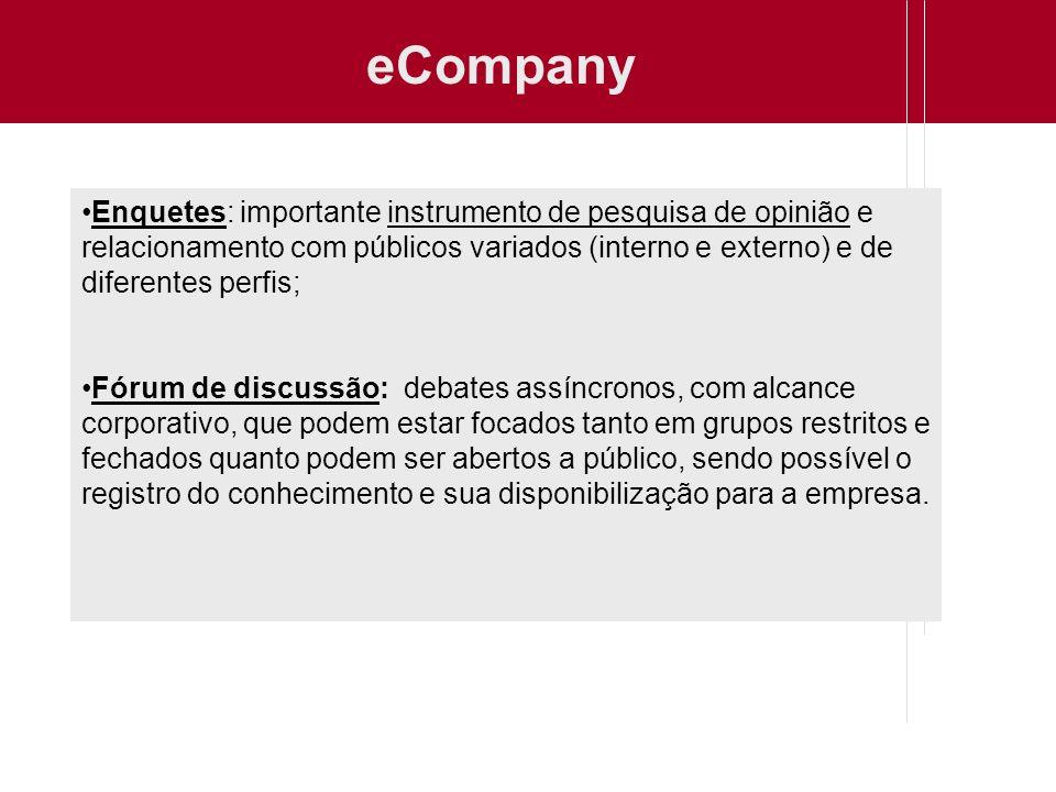 eCompany Enquetes: importante instrumento de pesquisa de opinião e relacionamento com públicos variados (interno e externo) e de diferentes perfis; Fó