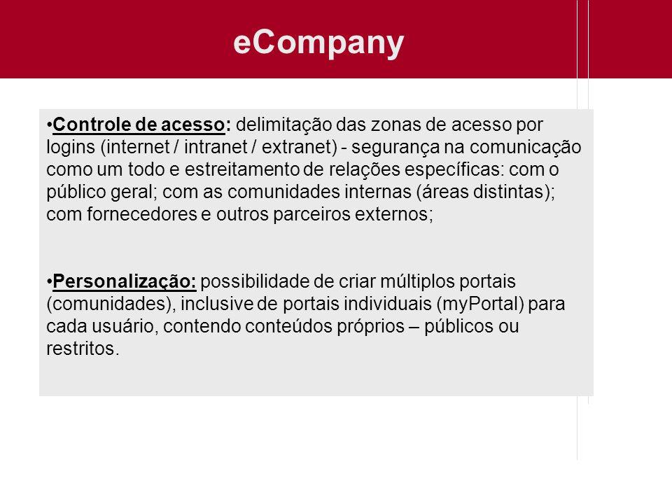 eCompany Controle de acesso: delimitação das zonas de acesso por logins (internet / intranet / extranet) - segurança na comunicação como um todo e est