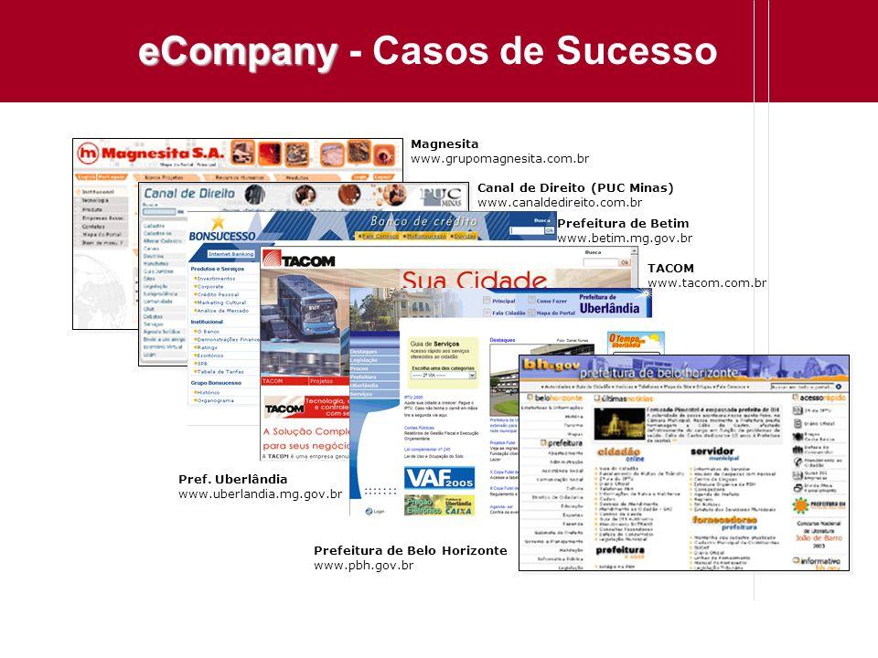 eCompany eCompany - Casos de Sucesso Magnesita www.grupomagnesita.com.br Canal de Direito (PUC Minas) www.canaldedireito.com.br Prefeitura de Betim ww
