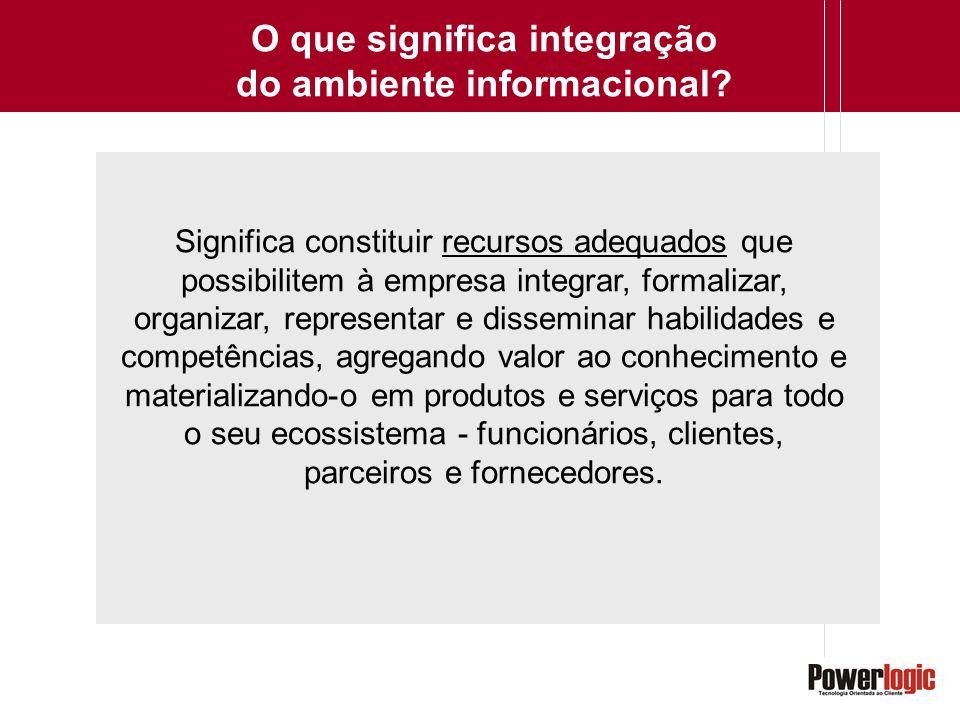 O que significa integração do ambiente informacional? Significa constituir recursos adequados que possibilitem à empresa integrar, formalizar, organiz