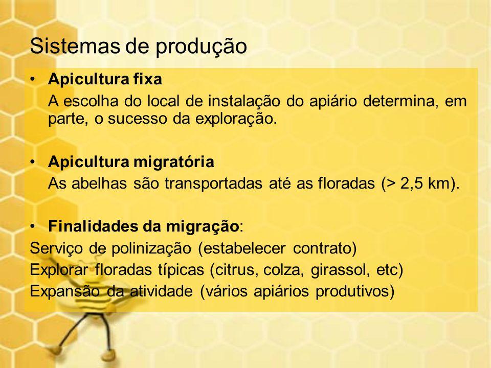 Sistemas de produção Apicultura fixa A escolha do local de instalação do apiário determina, em parte, o sucesso da exploração. Apicultura migratória A