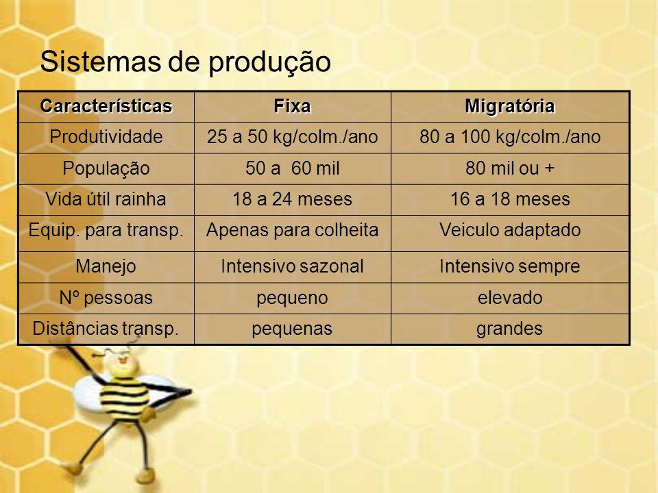 CaracterísticasFixaMigratória Produtividade25 a 50 kg/colm./ano80 a 100 kg/colm./ano População50 a 60 mil80 mil ou + Vida útil rainha18 a 24 meses16 a
