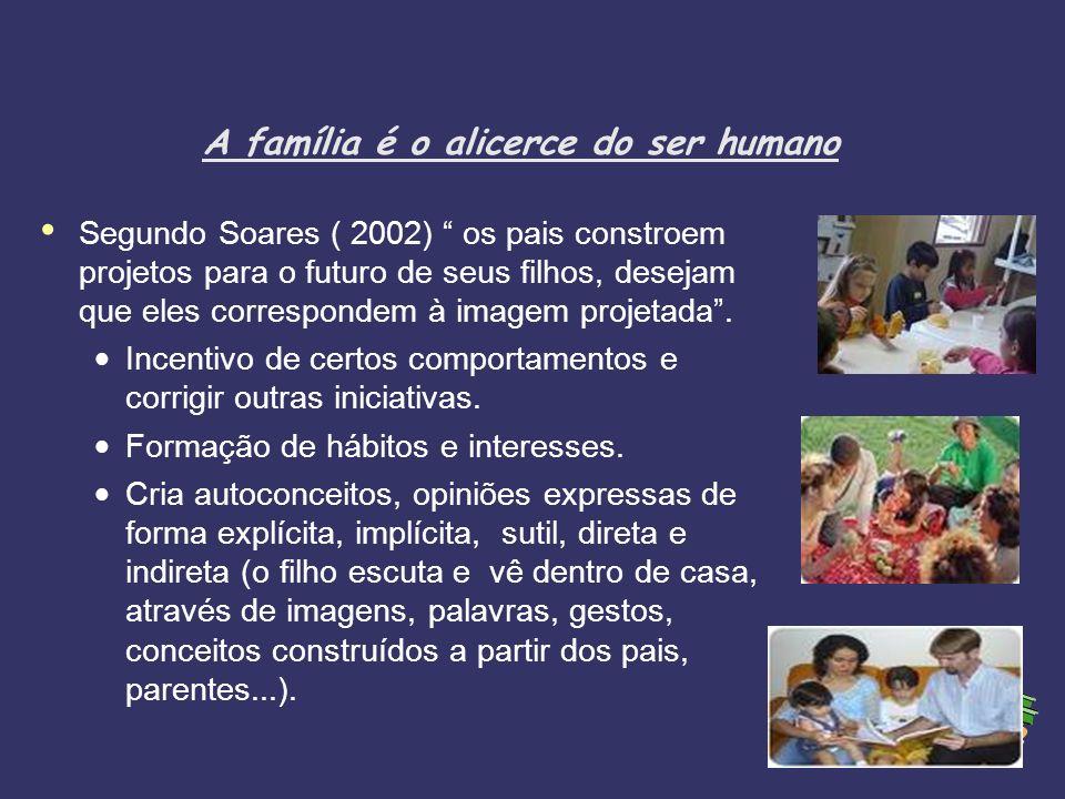 A família é o alicerce do ser humano Segundo Soares ( 2002) os pais constroem projetos para o futuro de seus filhos, desejam que eles correspondem à i