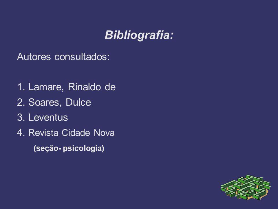 Bibliografia: Autores consultados: 1. Lamare, Rinaldo de 2. Soares, Dulce 3. Leventus 4. Revista Cidade Nova (seção- psicologia)