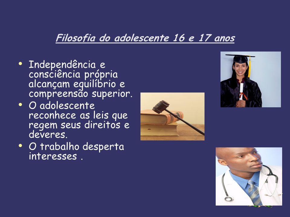 Filosofia do adolescente 16 e 17 anos Independência e consciência própria alcançam equilíbrio e compreensão superior. O adolescente reconhece as leis