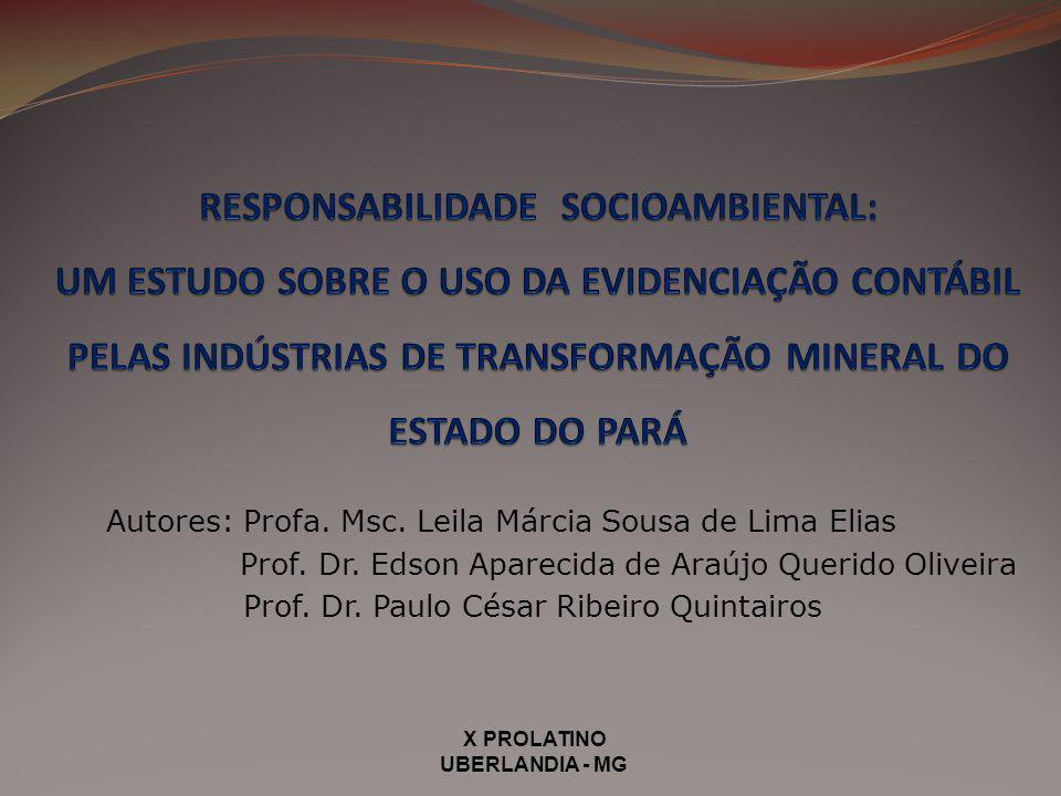 Autores: Profa. Msc. Leila Márcia Sousa de Lima Elias Prof. Dr. Edson Aparecida de Araújo Querido Oliveira Prof. Dr. Paulo César Ribeiro Quintairos X
