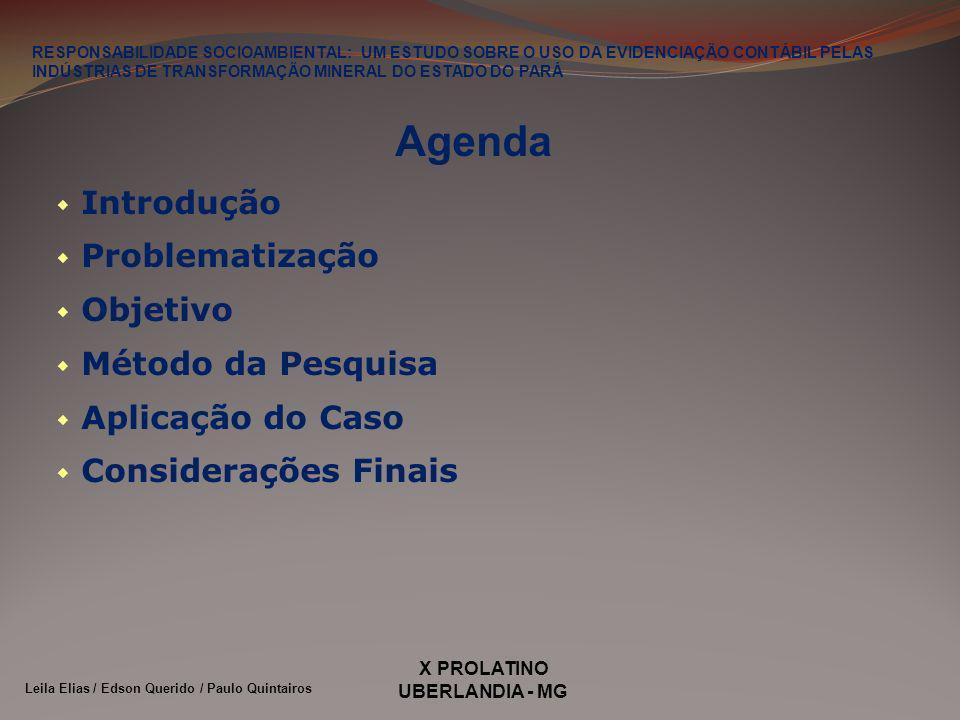 X PROLATINO UBERLANDIA - MG Agenda Introdução Problematização Objetivo Método da Pesquisa Aplicação do Caso Considerações Finais RESPONSABILIDADE SOCIOAMBIENTAL: UM ESTUDO SOBRE O USO DA EVIDENCIAÇÃO CONTÁBIL PELAS INDÚSTRIAS DE TRANSFORMAÇÃO MINERAL DO ESTADO DO PARÁ Leila Elias / Edson Querido / Paulo Quintairos