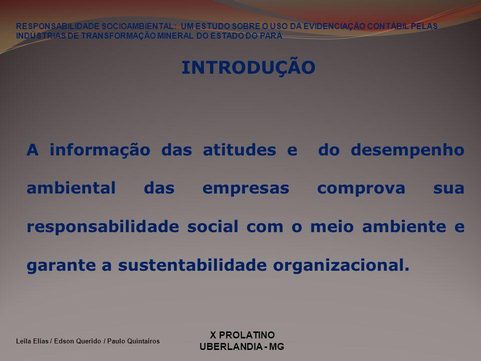 X PROLATINO UBERLANDIA - MG INTRODUÇÃO A informação das atitudes e do desempenho ambiental das empresas comprova sua responsabilidade social com o meio ambiente e garante a sustentabilidade organizacional.