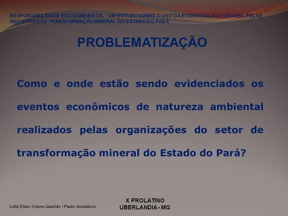 X PROLATINO UBERLANDIA - MG OBJETIVO Analisar, por meio da evidenciação das informações contábeis de natureza ambiental, como e onde estão sendo evidenciados as informações contábeis de natureza ambiental das empresas do setor industrial de transformação mineral instaladas no Estado do Pará.