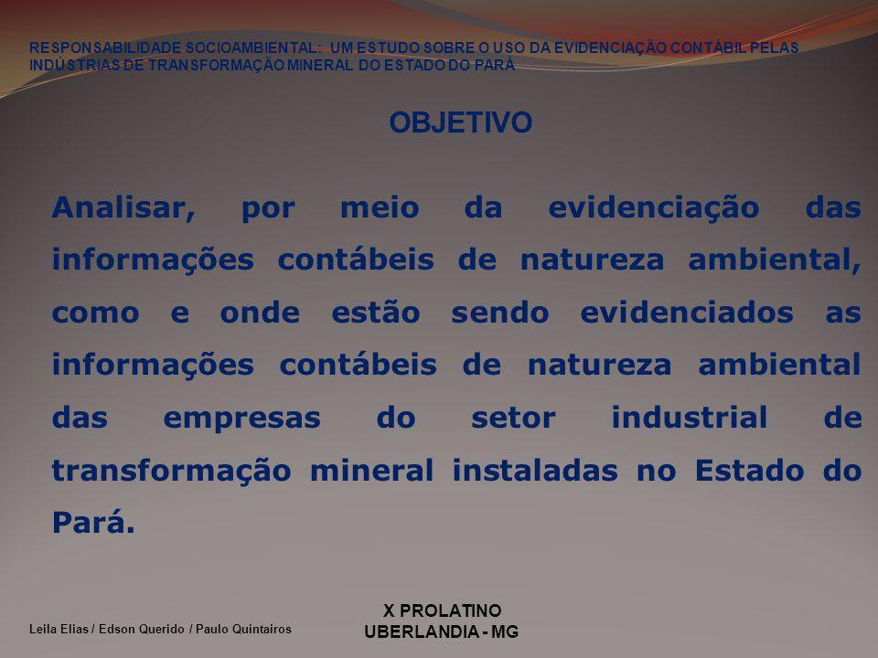 X PROLATINO UBERLANDIA - MG OBJETIVO Analisar, por meio da evidenciação das informações contábeis de natureza ambiental, como e onde estão sendo evide
