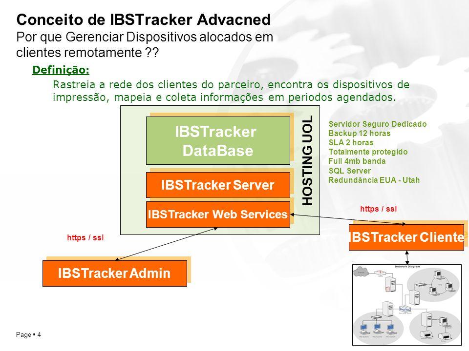YOUR LOGO Page 4 Conceito de IBSTracker Advacned Por que Gerenciar Dispositivos alocados em clientes remotamente ?? IBSTracker DataBase IBSTracker Ser