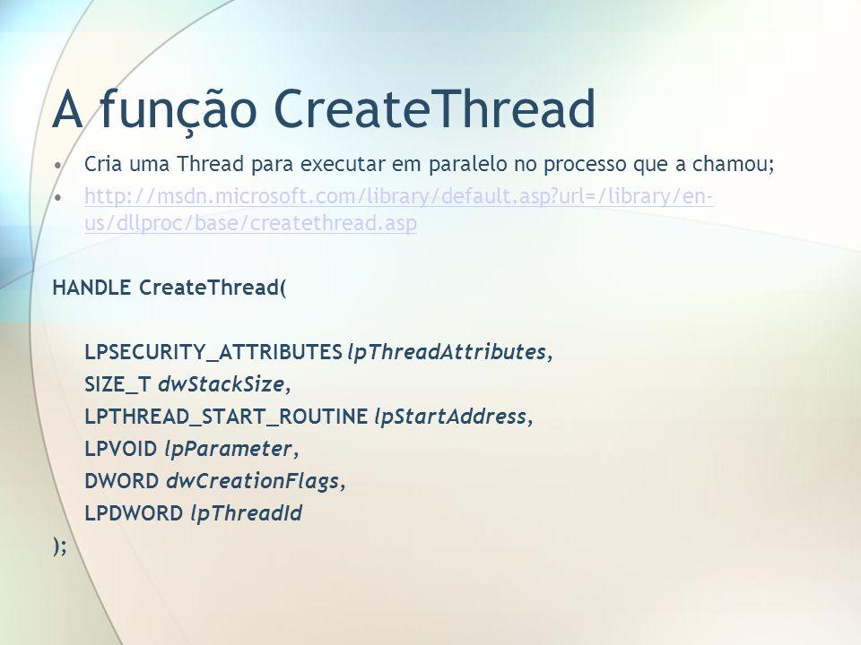 A função CreateThread Cria uma Thread para executar em paralelo no processo que a chamou; http://msdn.microsoft.com/library/default.asp?url=/library/e