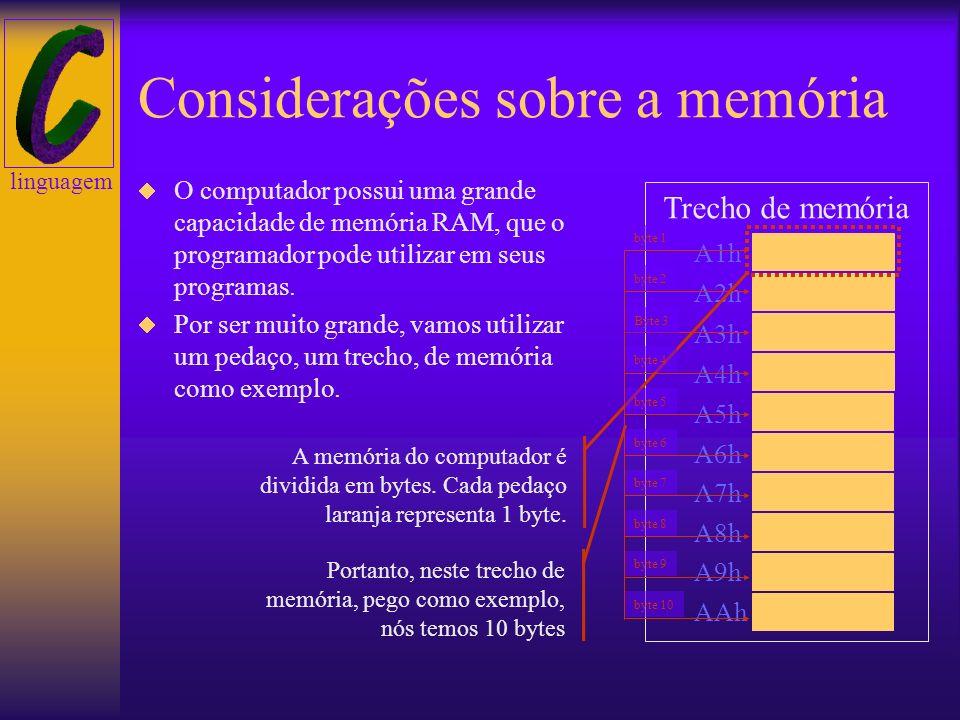 linguagem Roteiro Considerações sobre a memória Variáveis versus memória Ponteiros Aritmética de ponteiros