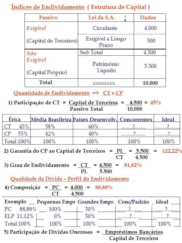 Índices de Endividamento ( Estrutura de Capital ) PassivoLei da S.A.Dados Exigível (Capital de Terceiros) Circulante Exigível a Longo Prazo Sub Total