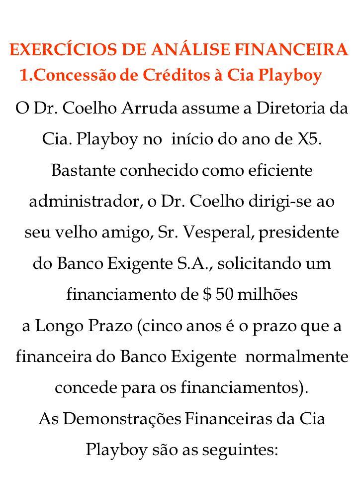 1.Concessão de Créditos à Cia Playboy O Dr. Coelho Arruda assume a Diretoria da Cia. Playboy no início do ano de X5. Bastante conhecido como eficiente