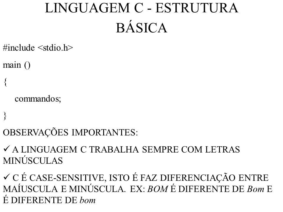 LINGUAGEM C - ESTRUTURA BÁSICA #include main () { commandos; } OBSERVAÇÕES IMPORTANTES: A LINGUAGEM C TRABALHA SEMPRE COM LETRAS MINÚSCULAS C É CASE-SENSITIVE, ISTO É FAZ DIFERENCIAÇÃO ENTRE MAÍUSCULA E MINÚSCULA.