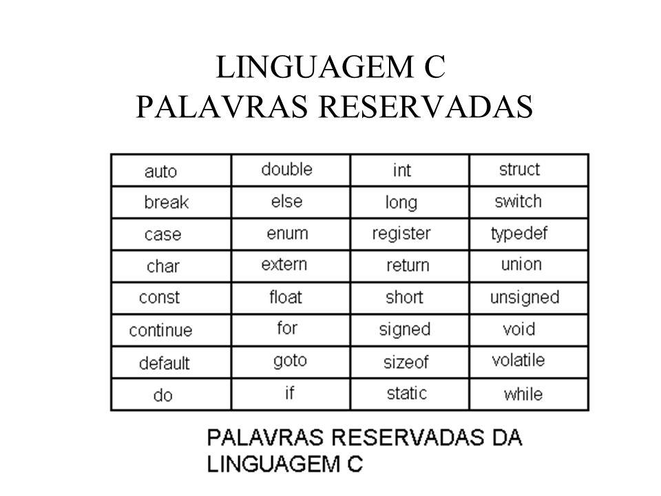 LINGUAGEM C PALAVRAS RESERVADAS
