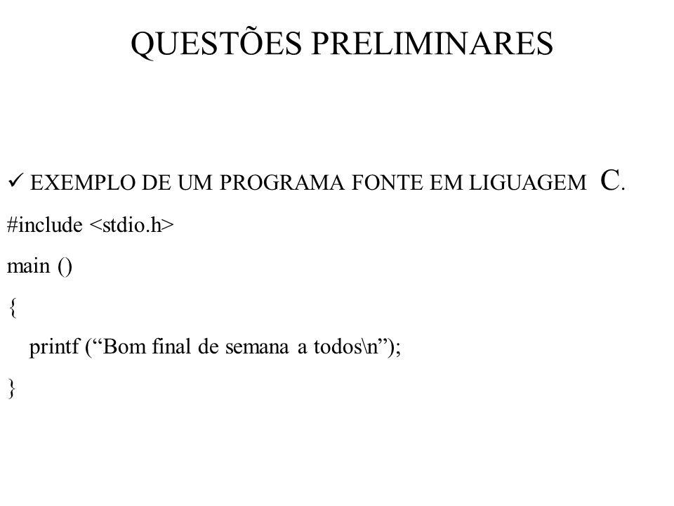 QUESTÕES PRELIMINARES EXEMPLO DE UM PROGRAMA FONTE EM LIGUAGEM C.