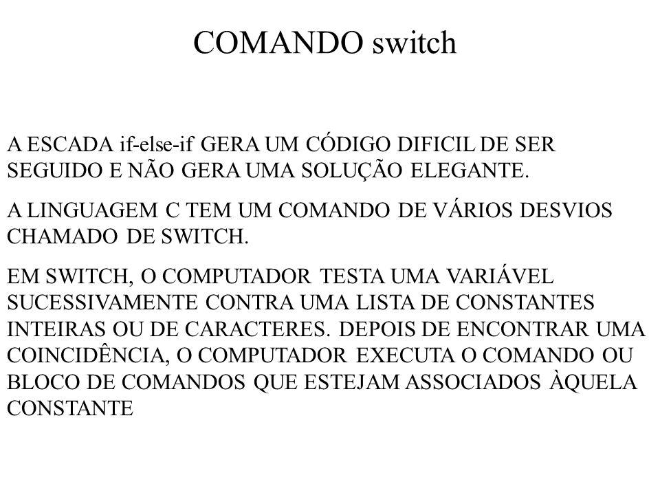 COMANDO switch A ESCADA if-else-if GERA UM CÓDIGO DIFICIL DE SER SEGUIDO E NÃO GERA UMA SOLUÇÃO ELEGANTE.