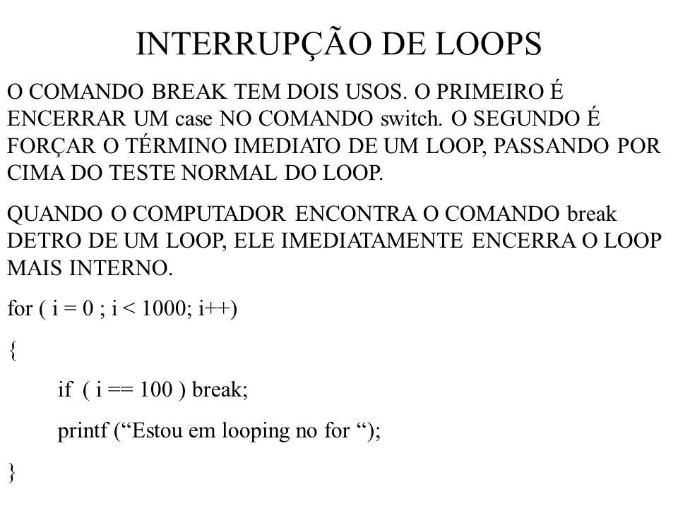INTERRUPÇÃO DE LOOPS O COMANDO BREAK TEM DOIS USOS.